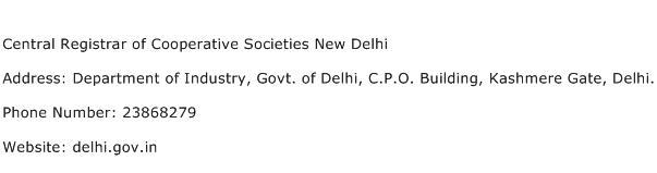 Central Registrar of Cooperative Societies New Delhi Address Contact Number
