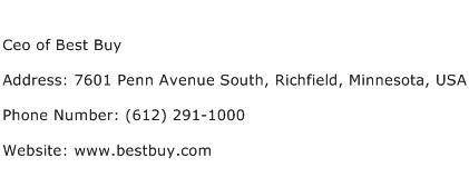Ceo of Best Buy Address Contact Number