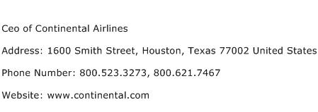 Ceo of Continental Airlines Address Contact Number