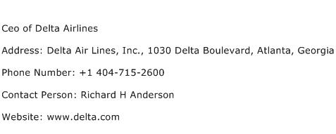 Ceo of Delta Airlines Address Contact Number