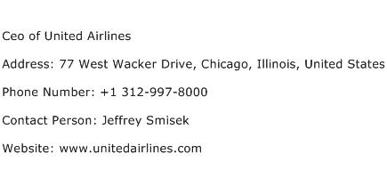 Ceo of United Airlines Address Contact Number