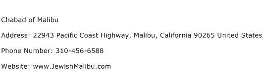 Chabad of Malibu Address Contact Number