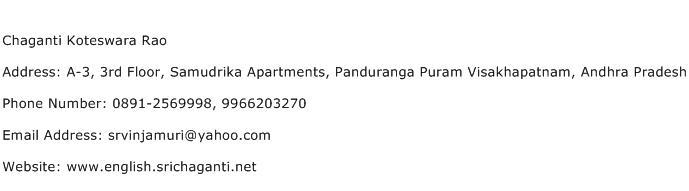 Chaganti Koteswara Rao Address Contact Number
