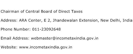 Chairman of Central Board of Direct Taxes Address Contact Number
