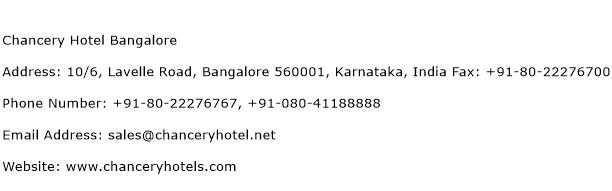 Chancery Hotel Bangalore Address Contact Number