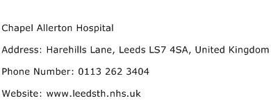 Chapel Allerton Hospital Address Contact Number