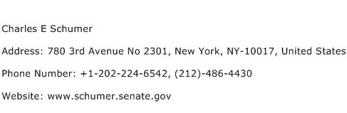 Charles E Schumer Address Contact Number