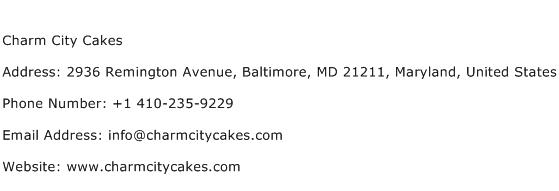Charm City Cakes Address Contact Number