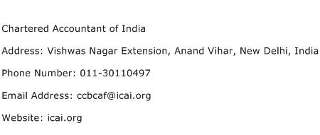 Chartered Accountant of India Address Contact Number
