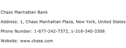 Chase Manhattan Bank Address Contact Number