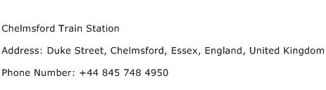 Chelmsford Train Station Address Contact Number
