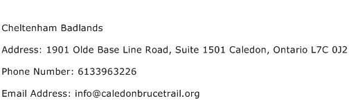 Cheltenham Badlands Address Contact Number