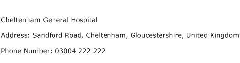 Cheltenham General Hospital Address Contact Number