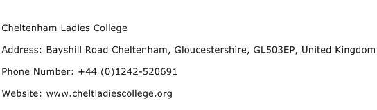 Cheltenham Ladies College Address Contact Number