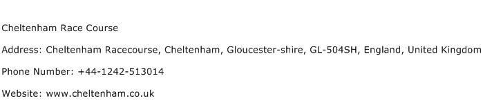Cheltenham Race Course Address Contact Number