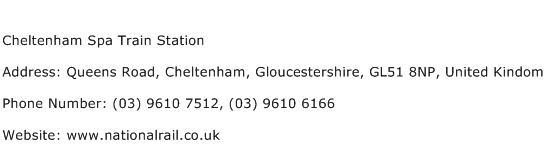 Cheltenham Spa Train Station Address Contact Number