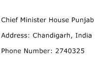 Chief Minister House Punjab Address Contact Number