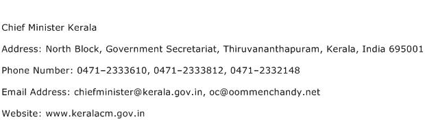 Chief Minister Kerala Address Contact Number