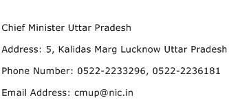 Chief Minister Uttar Pradesh Address Contact Number