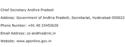 Chief Secretary Andhra Pradesh Address Contact Number