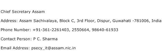 Chief Secretary Assam Address Contact Number