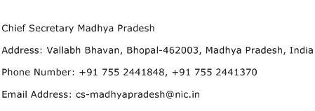 Chief Secretary Madhya Pradesh Address Contact Number