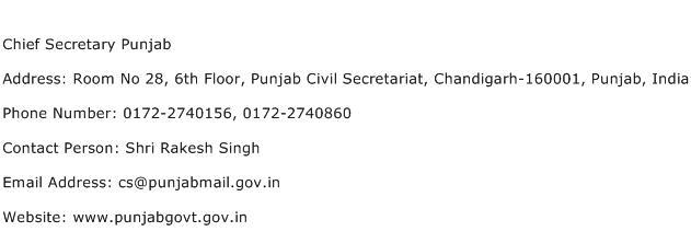 Chief Secretary Punjab Address Contact Number