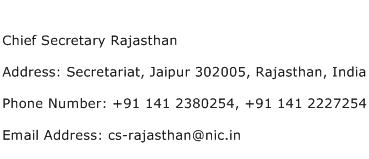 Chief Secretary Rajasthan Address Contact Number