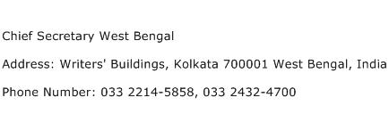 Chief Secretary West Bengal Address Contact Number