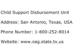 Child Support Disbursement Unit Address Contact Number