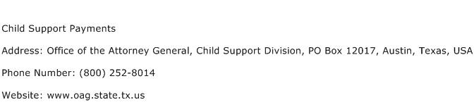 Child Support Payments Address Contact Number
