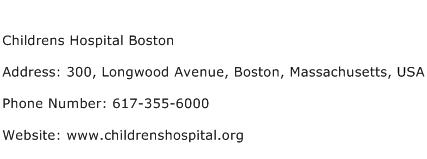 Childrens Hospital Boston Address Contact Number