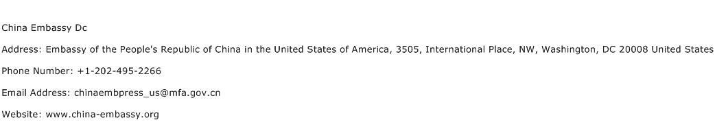 China Embassy Dc Address Contact Number