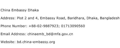 China Embassy Dhaka Address Contact Number