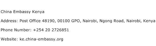 China Embassy Kenya Address Contact Number