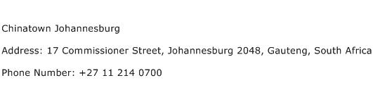 Chinatown Johannesburg Address Contact Number