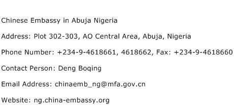 Chinese Embassy in Abuja Nigeria Address Contact Number
