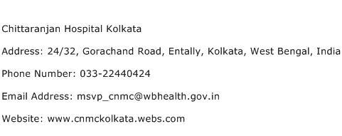 Chittaranjan Hospital Kolkata Address Contact Number