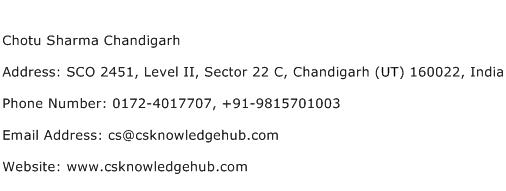 Chotu Sharma Chandigarh Address Contact Number