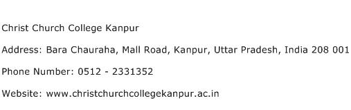 Christ Church College Kanpur Address Contact Number