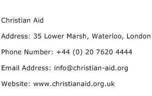 Christian Aid Address Contact Number