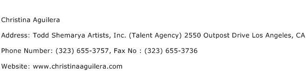 Christina Aguilera Address Contact Number