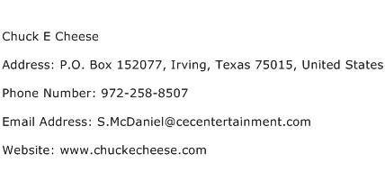 Chuck E Cheese Address Contact Number