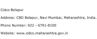 Cidco Belapur Address Contact Number