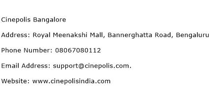 Cinepolis Bangalore Address Contact Number