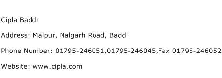 Cipla Baddi Address Contact Number