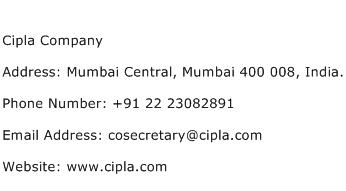 Cipla Company Address Contact Number