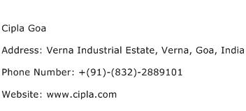 Cipla Goa Address Contact Number