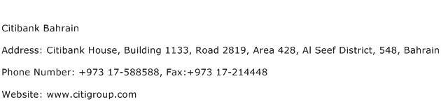 Citibank Bahrain Address Contact Number