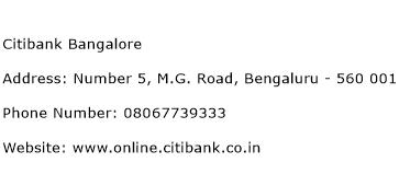 Citibank Bangalore Address Contact Number